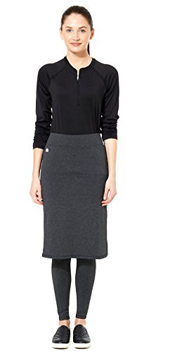 Snoga Full-Coverage Pencil Skirt w/ Attached Leggings - Black Heather, Small