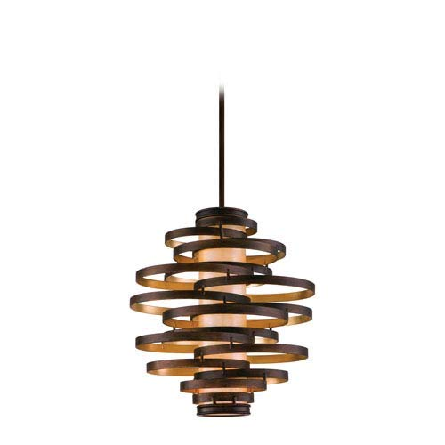 Lighting Bronze Corbett (Corbett Lighting 113-43-F Vertigo Three Light Pendant with Caramel Ice Glass, Bronze with Gold Leaf Finish)