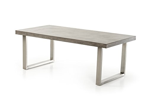 Limari Home Celso Collection Modern Style Concrete Room Kitchen Dining Table, 30″ Tall, Grey