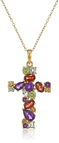 18k Yellow Gold Plated Sterling Silver Multi-Genuine Gems...