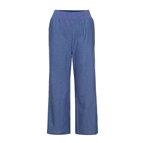 Harem Casuales Cintura Pierna Denim Ropa Ancha Mujer Vaqueros Palazzo Casual De Verano Pantalones Blau Alta E0xqaSXXw