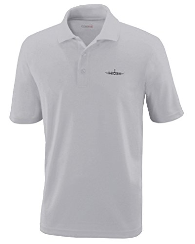Speedy Pros P3 Aircraft Militart Plane Embroidery Unisex Adult Button-End Spread Short Sleeve Polyester Performance Polo Shirt Golf Shirt - Platinum, 5X Large