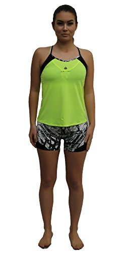 Women's Neon Yellow Mesh Detail Sports Bra Tank and Shorts Set, Pants w Hidden Pocket & Tops w Removable Cup, Active Suit for Girls & Lady, Activewear for Yoga Workout Running Jogging Walking Gym