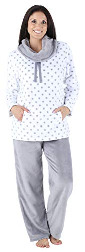 (Sleepyheads Women's Sleepwear Fleece 2-Piece Cowl Neck Pullover Loungewear Pajama PJ Set White Polka Dots (SH1144-4066-XL) )