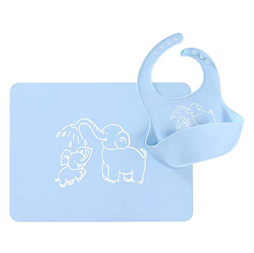 Bystar Cartoon Silicone Bib and Placemat with Pocket Set for Baby/Kids, Food Grade, Reusable, Insulation, Waterproof and Easy Clean (Light Blue Elephant)