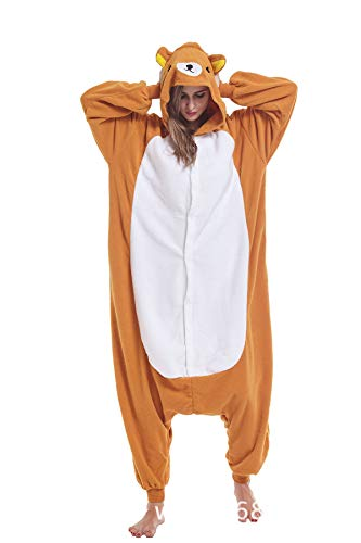 Rilakkuma Adult Animal Onesie Costume Cosplay Unisex One Piece Pajamas for Women Men -