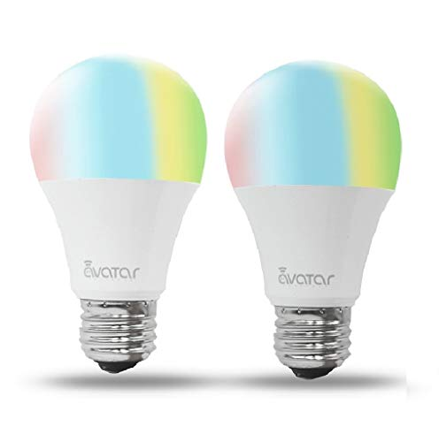 Smart Light Bulbs, UL Certificated WiFi LED Bulb, Avatar Controls 6.5W E26 Dimmable Multi-Color Home Light, Compatible with Alexa/Google Assistant, Remote Control ON/Off/Color Switch via App – 2 Pac