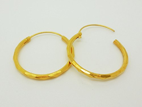 Hoops 18k 22k 24k Thai Baht Yellow Gold Plated Filled Earrings Jewelry