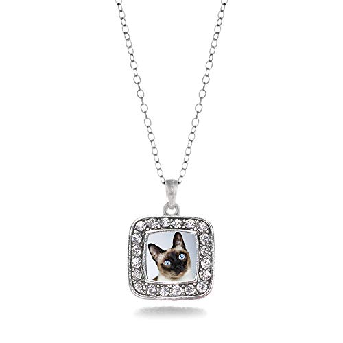 Inspired Silver - Siamese Cat Charm Necklace for Women - Silver Square Charm 18 Inch Necklace with Cubic Zirconia Jewelry ()
