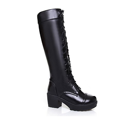 Nonbrand Women's block heel shoes lace up victorian knee length boots Black nNHiy6Yt9p