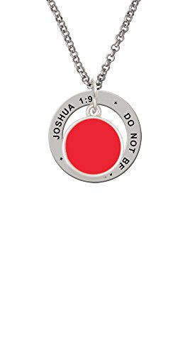 1 Red Enamel Disc (Small Red Enamel Disc - Joshua 1:9 Affirmation Ring Necklace)