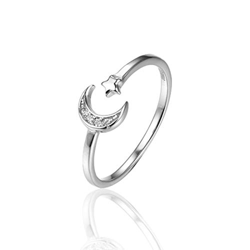Amaer Moon Star Open Ring Fashion 925 Sterling Silver Fashion Band with Plated AAA Cubic Zirconia Birthday for Women