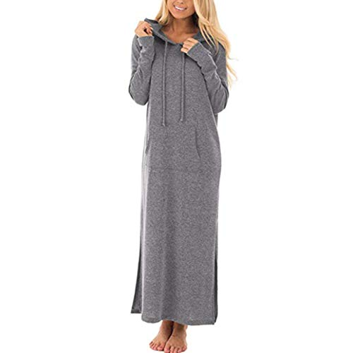 Clearance Sale! Wintialy Womens Casual Pockets Dresses Long Sleeve Split Hooded Solid Long Maxi Dress -
