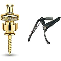 NEW MODEL (2018) Schaller Combo Pack S-Locks Straplocks (Gold) & Genuine Tenacity Deluxe Guitar Capo