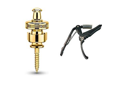 NEW MODEL (2018) Schaller Combo Pack S-Locks Straplocks (Gold) & Genuine Tenacity Branded Deluxe Guitar -