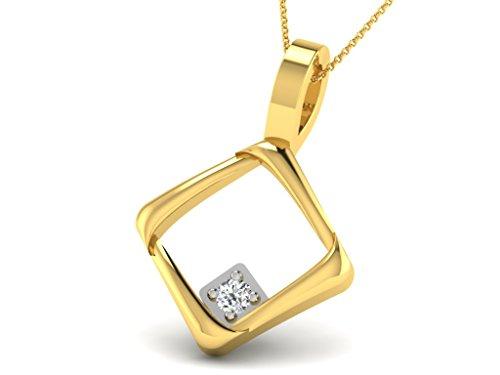 Or Jaune 18 ct Pendentifs Diamant en forme de Carré, 0.02 Ct Diamant, GH-SI, 0.7 grammes.
