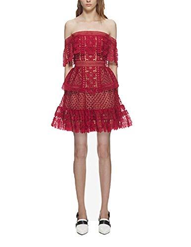 Party Portrait Dress (Thankstop Dress Self Portrait Sexy Club Dress Designer 2018 Summer Ladies Lace Party Dresses,Medium,Red)