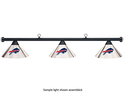 NFL Buffalo Bills Chrome Shade & Black Bar Billiard Pool Table Light
