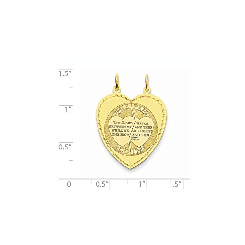 14k Yellow Gold Engravable Mizpah Charm (1.3IN long x 1IN wide) by Jewelry Pot