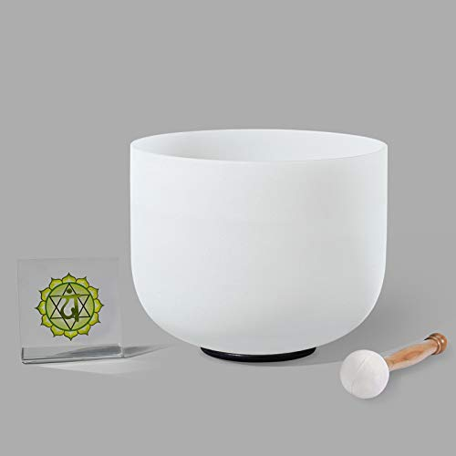 8 inch F Note Frosted Heart Chakra Tuned Quartz Crystal Singing Bowl Come With Free Mallet & O-ring