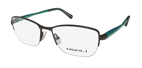 Koali By Morel 7715k For Ladies/Women Designer Half-rim Flexible Hinges Hot Stainless Steel Imported From France Eyeglasses/Eye Glasses (50-16-135, Brown/Turquoise / Aquamarine)