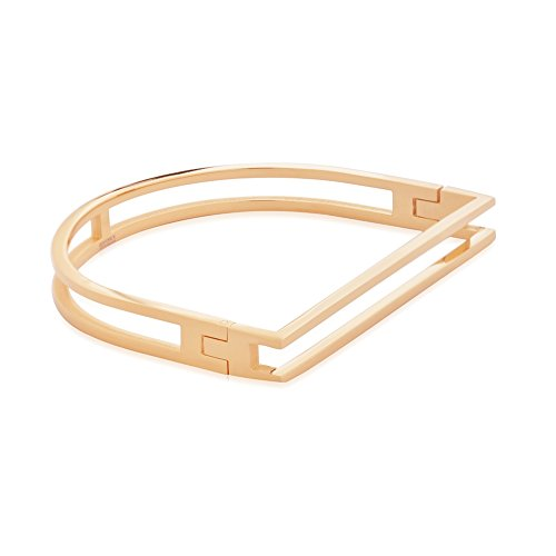 EDFORCE Stainless Steel Women's Gold Minimalism Cutout Bar Openwork Design Screw Cuff Bracelet Bangle Classic D Shape Bar Nautical (Rose Gold) ()