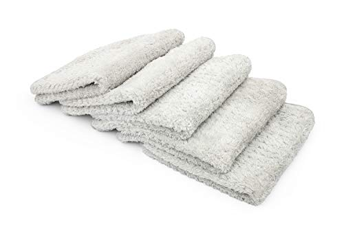 The Rag Company (5-Pack 16 in. x 16 in. Platinum PLUFFLE Professional Korean 70/30 480gsm Plush...