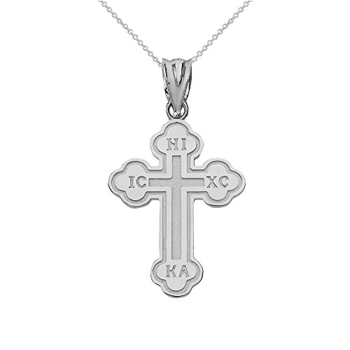 Pendant Pleat Box - Religious Jewelry by FDJ 925 Sterling Silver Eastern Orthodox IC XC Nika Cross Outline Pendant Necklace (Small), 20
