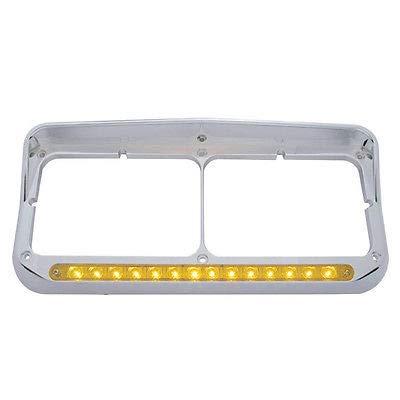 14 LED Dual Headlight Bezel w/ Visor - Amber LED/Amber Lens by United Pacific Chrome