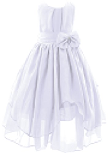 Big Girl Asymmetric Chiffon Wedding Bridesmaid Flower Girl Dress White (White Chiffon Flower Girl Dress)