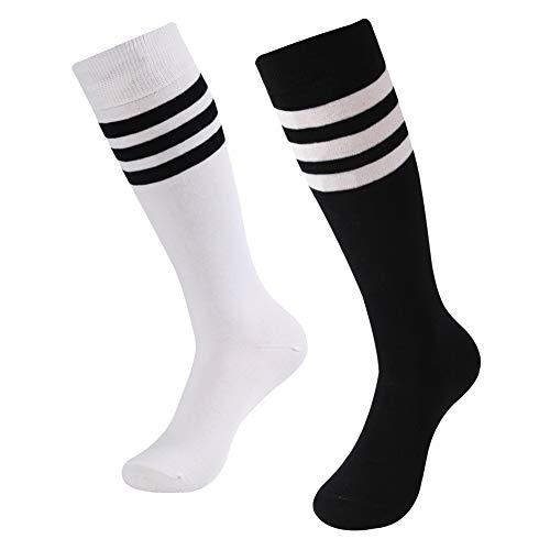 Knee High Socks, SUTTOS Women's Girls Stripe Tube Dresses Over The Knee Thigh High Stockings Cosplay Socks Football Soccer Socks Back to School Gift 2 Pairs-White&Black+Stripe -