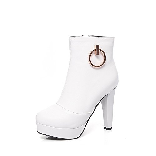 Round talón Otoño Invierno Sintética HSXZ Toe botines Stiletto Bota Calf Black mujer botas Zapatos moda botas botas por botines PU Piel Parte de Mid IxxO6w