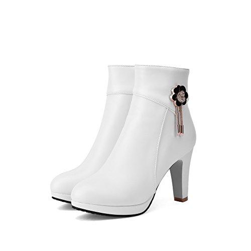 Low Boots White Zipper Solid Heels High Top Allhqfashion Women's Pu xqnXEwfP8z
