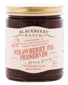 Blackberry Patch Strawberry Fig Preserves 10 oz Jar - Gourmet All Natural, Whole Real Fruit, Small Batch Flavor - Great for Dessert Filling or Topping. Try it on crostini with cream cheese!