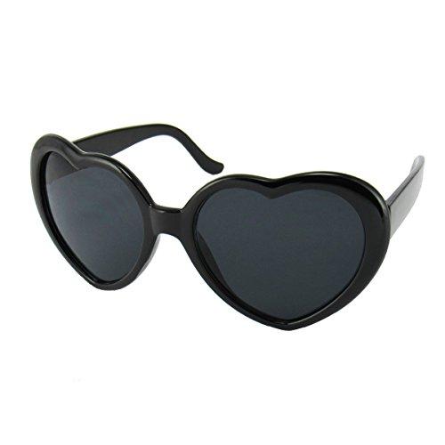Women's Novelty Black Heart Shaped Sunglasses by - Paul Jr Sunglasses