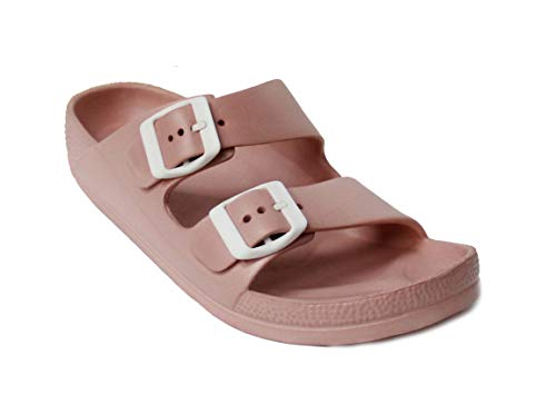 H2K Womens Comfort Slides Adjustable Double Buckle EVA Flat Slide Sandals (Dusty Rose, 11) (Buckle Slide Flat Sandals)