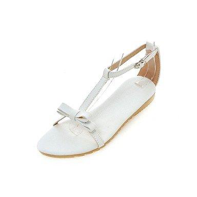 LvYuan Mujer Sandalias Confort Semicuero Primavera Verano Casual Vestido Paseo Confort Hebilla Tacón Plano Dorado Blanco Plateado Rosa Plano White