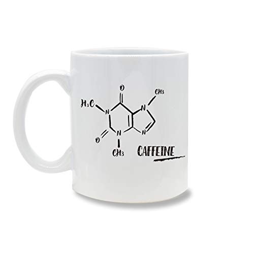 Funny Caffeine Molecule, 11OZ Coffee Mug Novelty, Office Tea Travel Mugs, Printed Ceramic Water Tea Drinks Cup ()