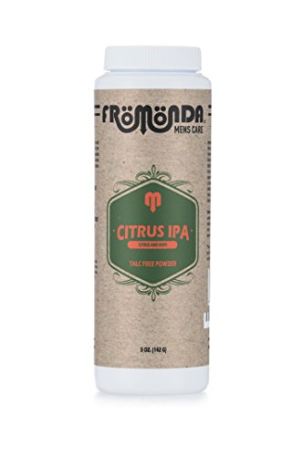Fromonda Citrus IPA Talc-Free Body Powder, Citrus & Hops Scent, All Natural Made with Essential Oils, 5 oz Talc Body Powder