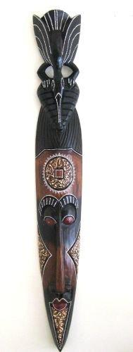 African Mask Wall Hanging Tribal Tiki Decor Eagle Bird Powerful Wisdom -OMA BRAND (Mask Tiki Lucky)