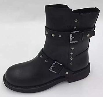 HOESCZS Zapatos De Mujer Otoño Remache De Tacón Bajo Botines De PU Cómodos Botas Martin Botas De Mujer: Amazon.es: Deportes y aire libre