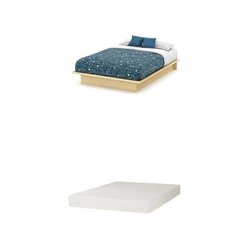 South Shore Step One Queen Platform Bed (60''), Natural Maple, and Somea Queen Mattress Included