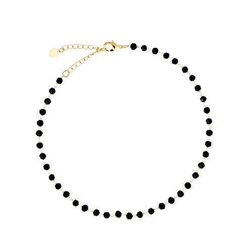S.J JEWELRY Fremttly Friendship Gift Handmade Dainty Anklet 14K Gold Filled/Silver Star Lucky Beads Lace Chain Adjustable Foot Chain for Womens-ANK-Black Bead ()