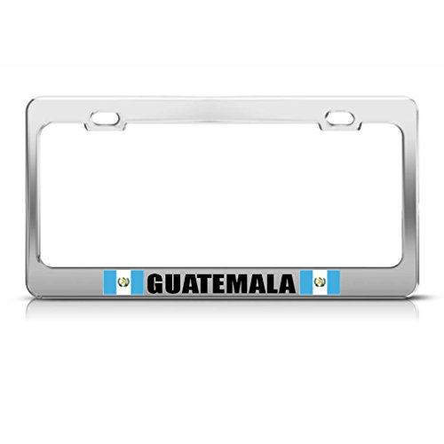 Guatemala Country Flag Chrome Steel License Plate Frame Tag Border