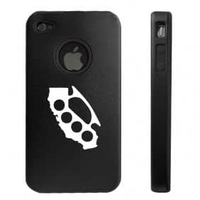 Apple iPhone 4 4S 4G Black D2026 Aluminum & Silicone Case Cover Brass Knuckles California