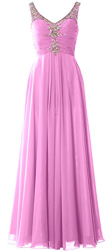 MACloth Women Long Prom Dress Crystals Chiffon V Neck Formal Party Evening Gown Rosa