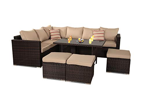 Patio Furniture Garden 7 PCS Sectional Sofa Brown Wicker Conversation Set Outdoor Indoor Use Couch Set Khaki Cushion