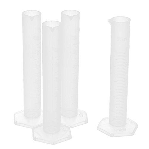 Uxcell a16031400ux1489 - Cilindro graduado para laboratorio (plástico, 25 ml, 4 unidades)