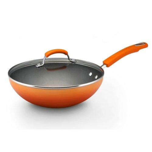 Rachael Ray Porcelain Enamel II Nonstick 11-Inch Covered Stir Fry, Orange Gradient