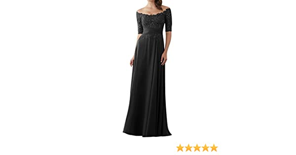 3c7f328212a Evening Dresses Mother of The Bride Gowns with Sleeves Lace Long Chiffon  Beaded Black US2 at Amazon Women s Clothing store